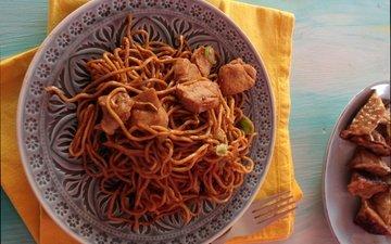 food, meat, spaghetti, dish, pasta, chinese cuisine
