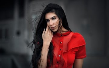 background, portrait, brunette, model, makeup, hairstyle, in red, felix thoma