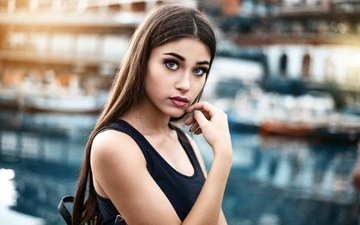 background, portrait, model, makeup, hairstyle, mike, brown hair, bokeh, bag, marcello de cenzo, margherita