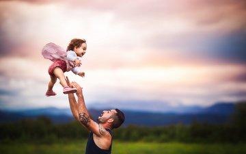 фон, радость, девочка, папа
