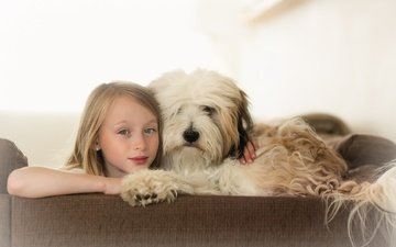 eyes, background, look, dog, children, girl, child, friends