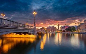 lights, the evening, river, bridge, sweden, building, old town, stockholm