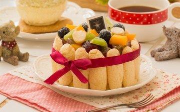 фрукты, чай, сладкое, печенье, торт, десерт, савоярди