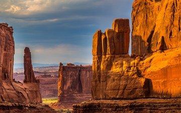 горы, скалы, природа, каньон, руины, сша, юта, долина, национальный парк, национальный парк арки, монолит