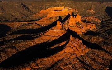 горы, скалы, закат, каньон, тень, сша, аризона