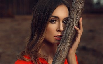 girl, look, model, makeup, red dress, manicure, brown-eyed, damian piórko