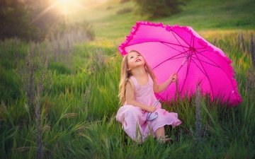 nature, mood, field, summer, joy, girl, meadow, umbrella, pink dress