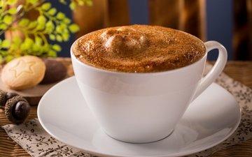 кофе, чашка, печенье, пенка