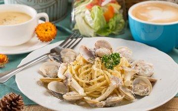 кофе, спагетти, морепродукты, моллюски, паста