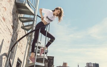ladder, girl, photo, the city, model, hair, mike, gigi hadid, reebok