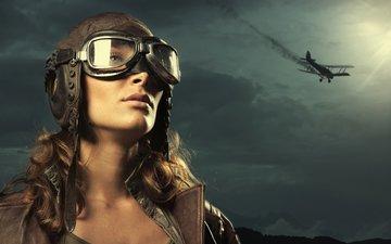 небо, девушка, самолет, пилот, взгляд, шлем, очки, модель, лицо, летчица
