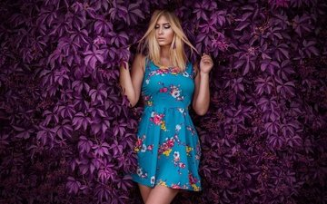 leaves, girl, dress, pose, blonde, the bushes, closed eyes