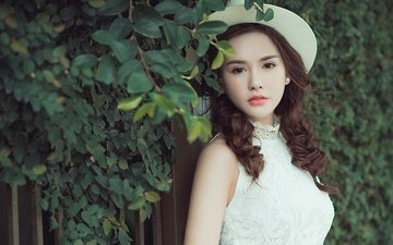 leaves, style, girl, branches, look, the fence, model, curls, hat, asian, brown eyes