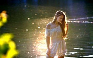 вода, девушка, волосы, лицо, белое платье, солнечный свет, дана, ivan borys