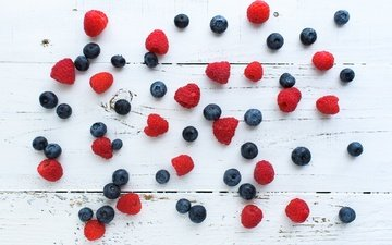 raspberry, berries, blueberries, wooden surface