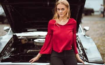 girl, machine, look, auto, model, hair, face, blouse, dodge charger, luisa bittkow