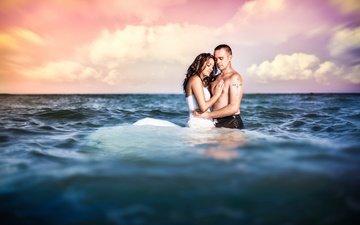 девушка, море, парень, модель, мокрые, любовь, пара