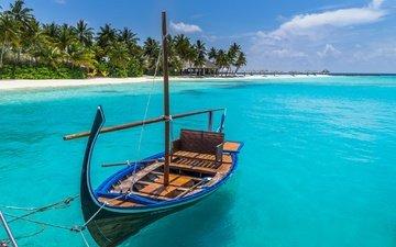 sea, beach, boat, palm trees, the ocean, tropics, the maldives
