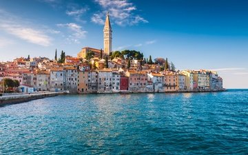 sea, coast, home, building, croatia, rovinj, the adriatic sea, istria