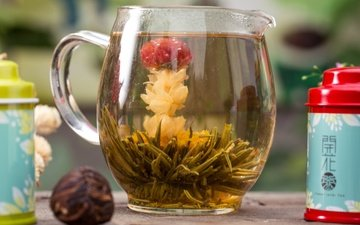 напиток, чай, кувшин, китайский чай, цветочный чай
