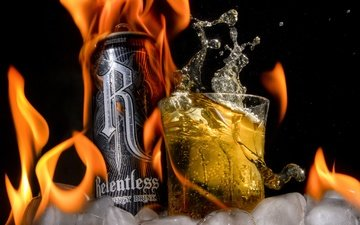 drink, fire, ice, black background, powerman