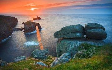 небо, берег, закат, океан