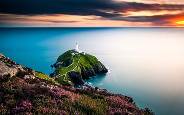 небо, цветы, облака, закат, море, скала, маяк, горизонт