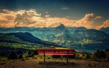 небо, облака, горы, природа, пейзаж, панорама, скамейка, лавка