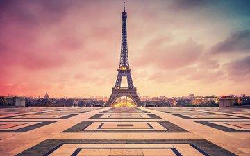 небо, облака, париж, франция, площадь, эйфелева башня
