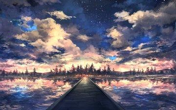небо, облака, озеро, лес, закат, отражение, пейзаж, звезды, мост
