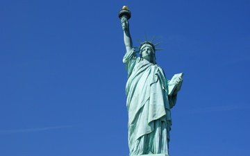 the sky, usa, new york, the statue of liberty
