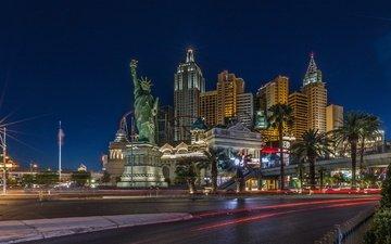ночь, казино, дома, улица, сша, лас-вегас, статуя свободы