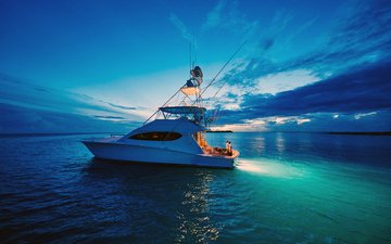 night, sea, yacht