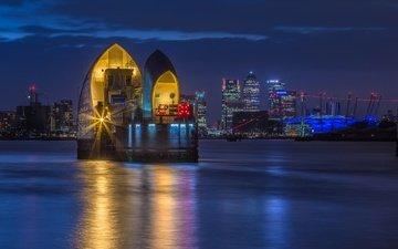 night, lights, london, england