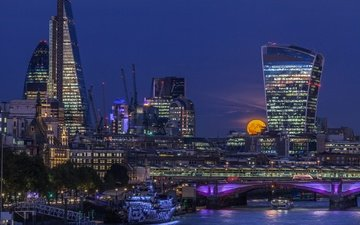 night, lights, bridge, london, the city, the moon, tower, england