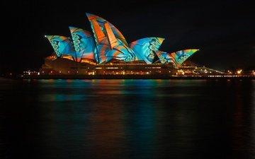 ночь, огни, сидней, австралия, сингапур, сиднейский оперный театр, световое шоу