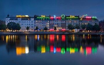 night, lights, water, river, neon, reflection, home, promenade, copenhagen, denmark