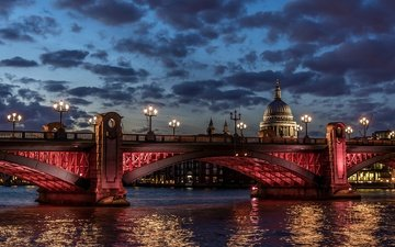 clouds, lights, river, bridge, london, thames, england, st. paul's cathedral