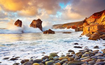 clouds, rocks, stones, shore, wave, morning, dawn, the ocean, usa, ca