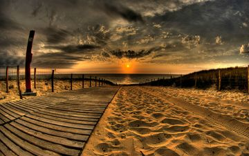 облака, солнце, берег, песок, дорожка, пляж