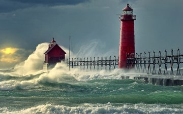 clouds, wave, sea, lighthouse, squirt, storm