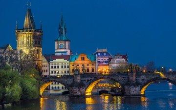 lights, the evening, river, bridge, home, prague, charles bridge, czech republic