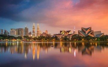reflection, panorama, tower, home, skyscraper, malaysia, kuala lumpur