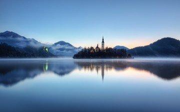 reflection, fog, tower, slovenia, lake bled