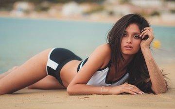 girl, pose, sand, beach, look, model, legs, face, david mas, andreita
