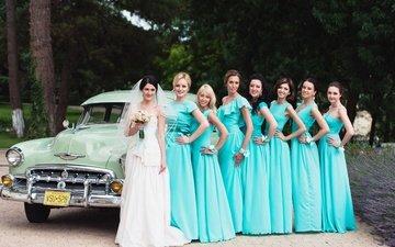 платье, букет, невесты, свадьба, автомобиль, невеста, подруги, венчание