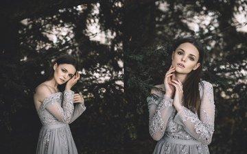 хвоя, девушка, платье, ветки, взгляд, волосы, лицо, alexandra cameron