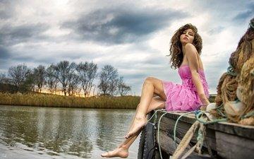 the sky, clouds, girl, dress, look, pier, legs, hair, face, alp cem, happy hour