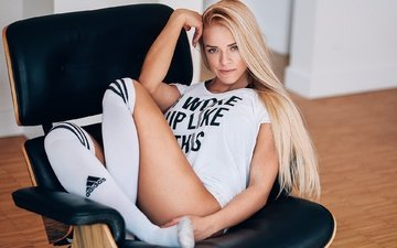 girl, pose, blonde, look, model, feet, face, chair, long hair, knee, angela paskevic
