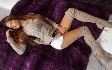 pose, shorts, lies, model, legs, makeup, figure, plaid, sofa, pillow, boots, brown hair, closed eyes, kate, jumper, peter paszternak